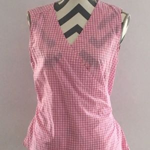 Beachlunchlounge Pink White Gingham Top Sm. NWT